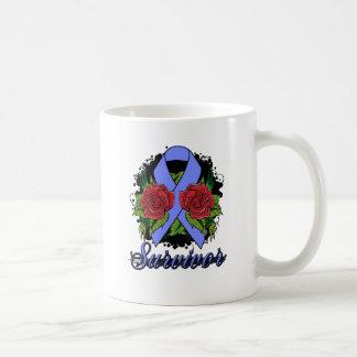 Intestinal Cancer Survivor Rose Grunge Tattoo Coffee Mug