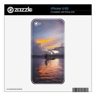 Intha fisherman leg rowing boat fishing with net iPhone 4S decals