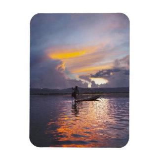 Intha fisherman leg rowing boat fishing with net rectangular photo magnet