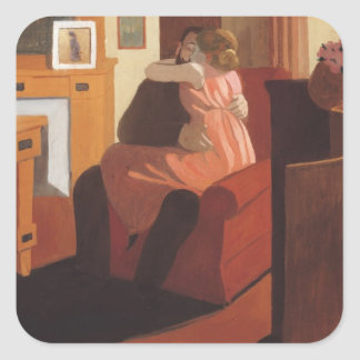 Intimacy Couple in an Interior with a Square Sticker