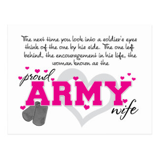 Into a Soldier's eyes - Proud Army Wife Postcard