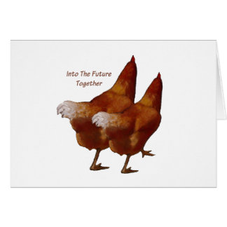 Into Future Together: Chickens Walking:Art Couple Card