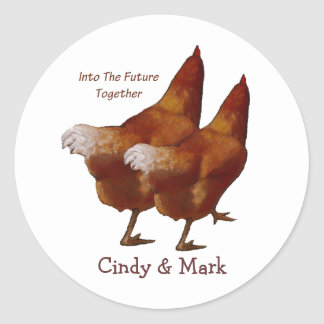 Into Future Together: Chickens Walking:Art Couple Classic Round Sticker