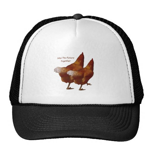 Into Future Together: Chickens Walking:Art Couple Mesh Hats