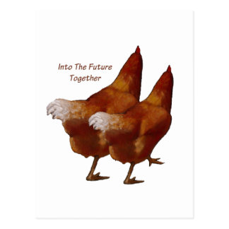 Into Future Together: Chickens Walking:Art Couple Postcard