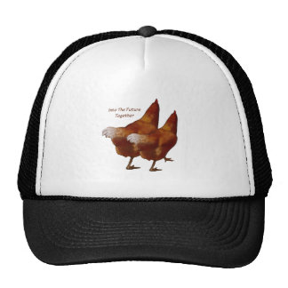 Into Future Together: Chickens Walking:Art Couple Trucker Hat