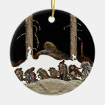 Into the Christmas Night - Double-Sided Ceramic Round Christmas Ornament