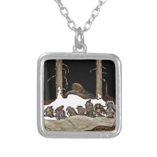 Into the Christmas Night - Square Pendant Necklace