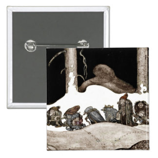 Into the Christmas Night Tomte-Nisse 2 Inch Square Button