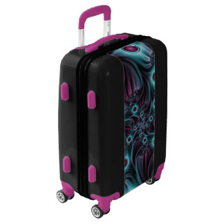 Into the Depth Blue Pink Abstract Fractal Art Luggage