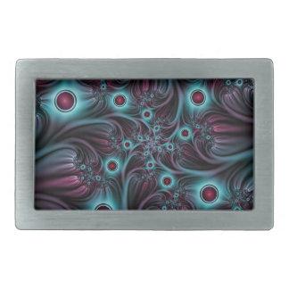 Into the Depth Blue Pink Abstract Fractal Art Rectangular Belt Buckle