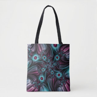 Into the Depth Blue Pink Abstract Fractal Art Tote Bag