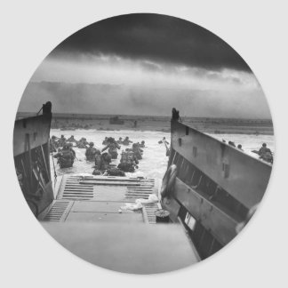 Into The Jaws Of Death LCVP World War II Omaha Classic Round Sticker