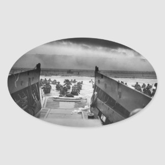 Into The Jaws Of Death LCVP World War II Omaha Oval Sticker