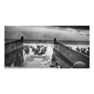 Into The Jaws Of Death LCVP World War II Omaha Personalized Photo Card
