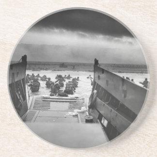Into The Jaws Of Death LCVP World War II Omaha Sandstone Coaster