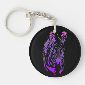 Into the Jungle (Zebra) Double-Sided Round Acrylic Keychain