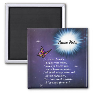 Into The Light Butterfly 2 Inch Square Magnet