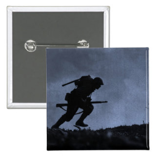 Into the Night a Soldier on the Battlefield Pinback Buttons