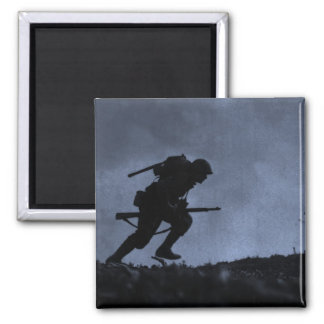 Into the Night a Soldier on the Battlefield Refrigerator Magnet