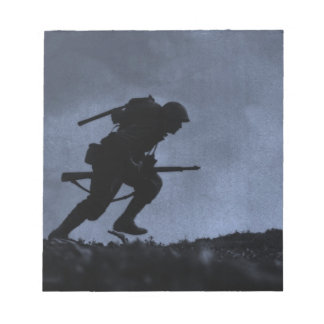 Into the Night a Soldier on the Battlefield Notepad