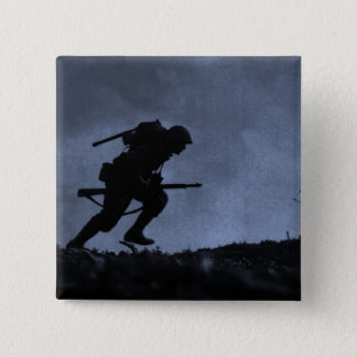 Into the Night a Soldier on the Battlefield Pinback Button