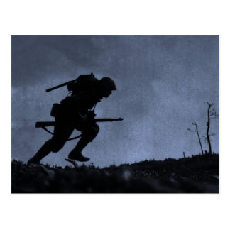 Into the Night a Soldier on the Battlefield Postcard