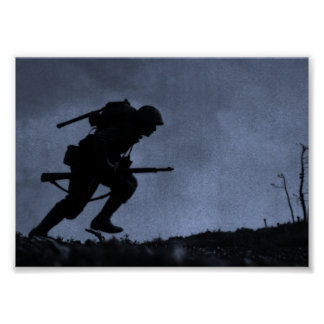 Into the Night a Soldier on the Battlefield Poster
