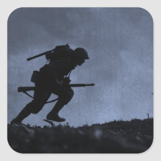 Into the Night a Soldier on the Battlefield Square Sticker