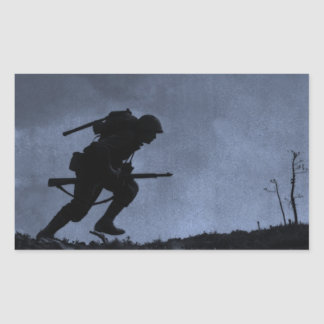 Into the Night a Soldier on the Battlefield Rectangle Sticker