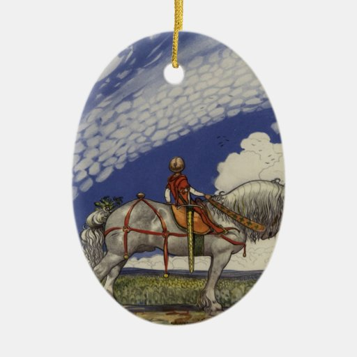 Into the Wide World by John Bauer 1907 Double-Sided Oval Ceramic Christmas Ornament