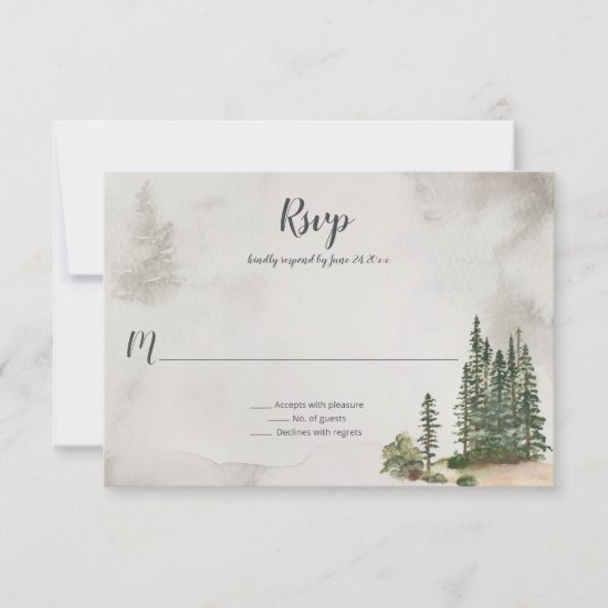 Into the Wild Fir Trees Rustic Wedding | RSVP Card