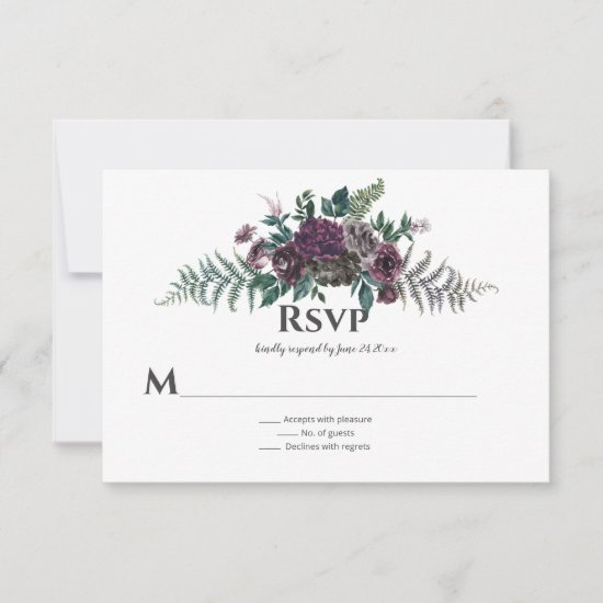 Into the Wild Rustic Burgundy Gray Floral RSVP Card