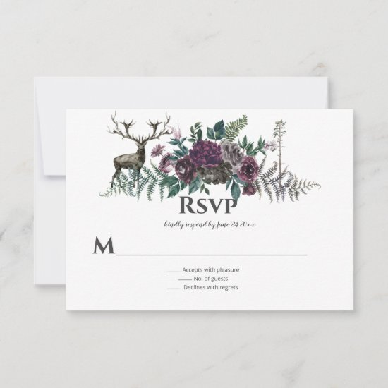 Into the Wild Rustic Burgundy Gray Floral Stag RSVP Card
