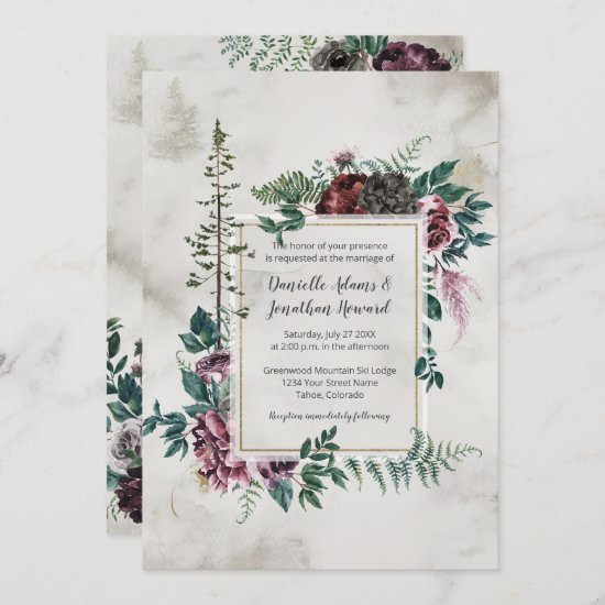 Into the Wild Rustic Burgundy Gray Floral Wedding Invitation