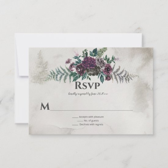 Into the Wild Rustic Burgundy Gray Floral Wedding RSVP Card