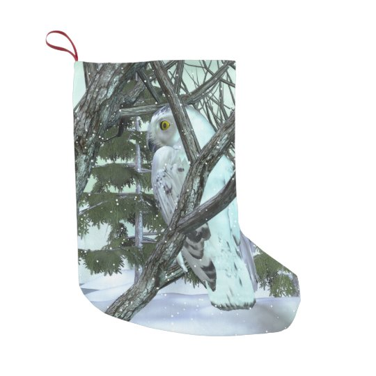 into the wild snowy owl scene holiday decor small christmas stocking - Small Christmas Stocking Decorations