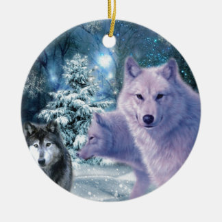 Into The Wild Wolf Art Ceramic Ornament