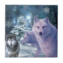 Into The Wild Wolf Art Ceramic Tile