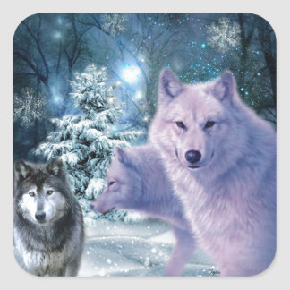 Into The Wild Wolf Art Square Sticker
