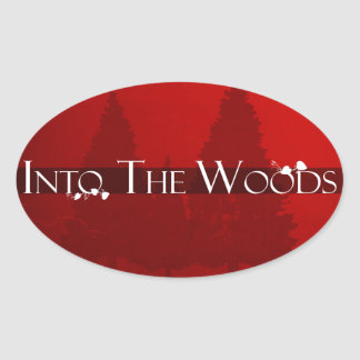 Into the Woods Fairy Tale Forest Scene Oval Sticker