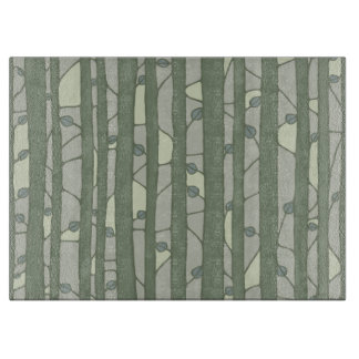 Into the Woods green Glass Cutting Board large