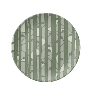 Into the Woods green Porcelain Plate small