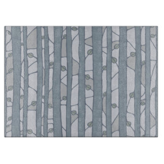 Into the Woods grey Glass Cutting Board large