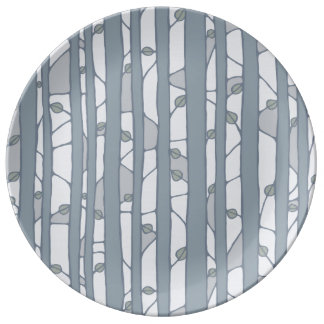 Into the Woods grey Porcelain Plate