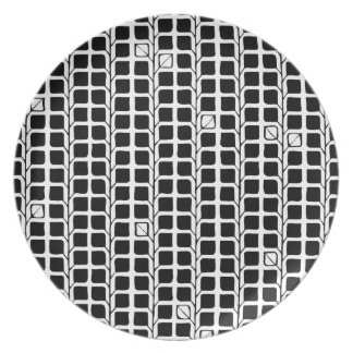 Into the Woods Leaves black Melamine Plate