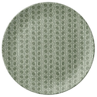 Into the Woods Leaves green Porcelain Plate