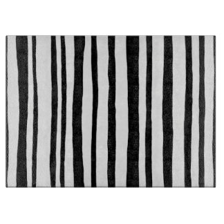 Into the Woods Stripes black Glass Cutting Board