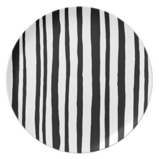 Into the Woods Stripes black Melamine Plate