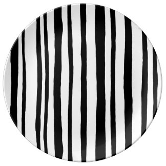 Into the Woods Stripes black Porcelain Plate